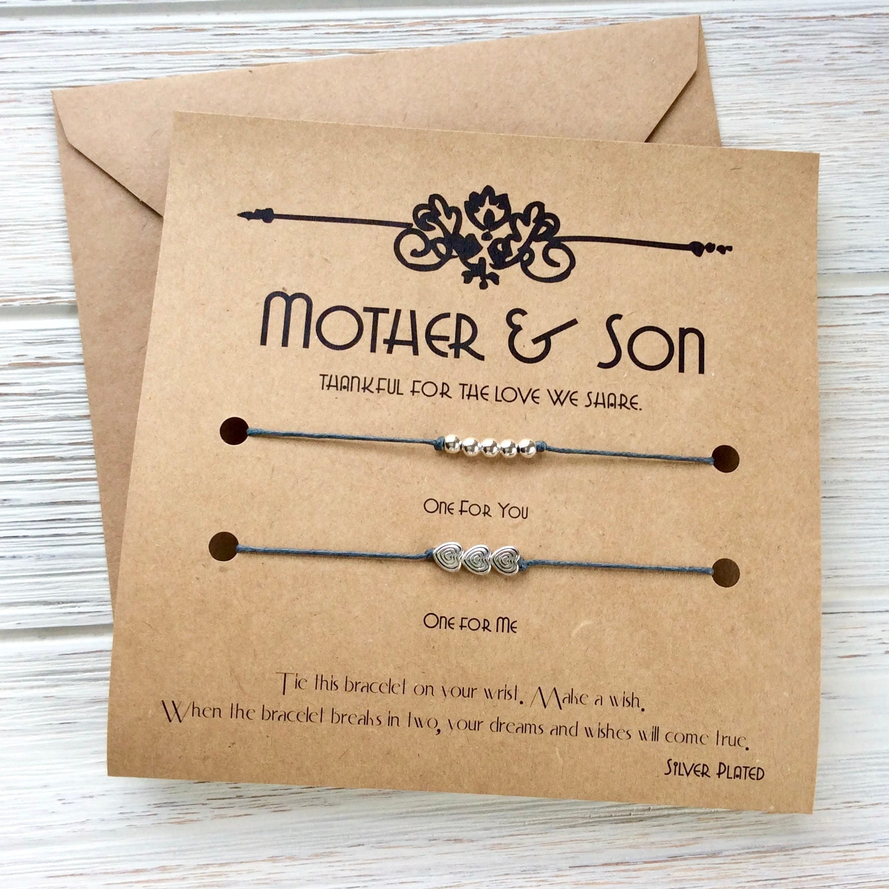 Mom Son Gift For Son Wish Bracelet For Son Mother Son Matching