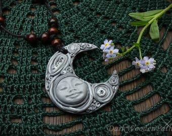 Necklace ~ Moon Goddess ~ polymer goddess half moon