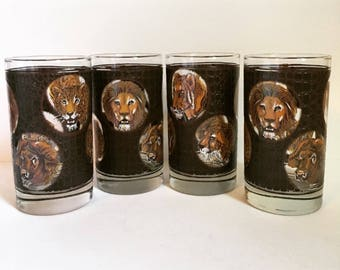 4 Libbey M. Dia Mid Century Modern/Vintage Safari Themed-Big Game Highball Glasses // 1960-70's // 4 Piece Set