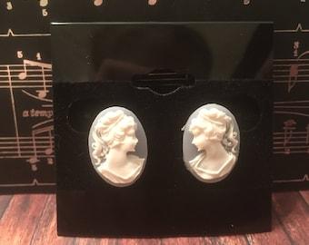 Blue Resin Oval Cameo Earrings
