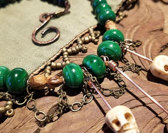 Bone Skull Chain Lace Necklace with Malachite Green Glass Beads and Juniper Berry Accents