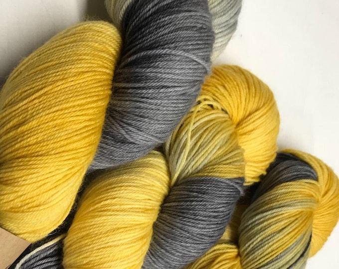 100g Superwash Merino / Nylon Sock Yarn 4 ply, fingering, hand dyed in Scotland, mustard yellow, grey, variegated, perfect grellow'
