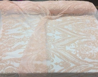 2 Way Stretch Fabric - Lt Peach Embroidered Sequins Lace Fashion - By The Yard