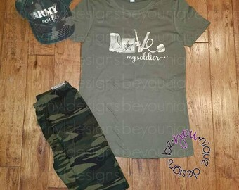 Love my soldier outfit / Army wife shirt / Army wife outfit / Military Outfit / Camo Outfit / Army Outfit / Marine,  Navy ,  Air Force  Wife