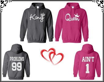 King Queen Front Back Couple Hoodie Sweatshirt Problems Ain't Couple Hoodie Sweatshirt King Queen Sweater Gift For Couple