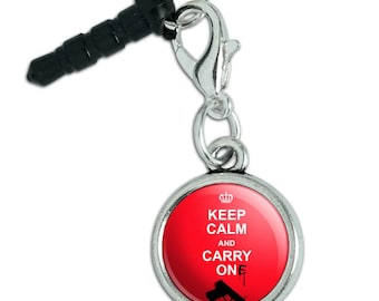 Gun Keep Calm And Carry One Mobile Cell Phone Headphone Jack Anti-Dust Charm fits iPhone iPod Galaxy