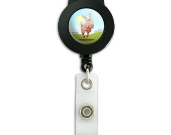 Happy lamb on field lanyard retractable reel badge id card holder