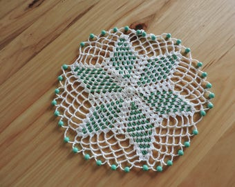 Vintage Doily, Hand-Crocheted Doily, Beaded Hand-Crocheted DOily, White Doily with Green Beads, Vintage Doily with Interior 6-Point Star