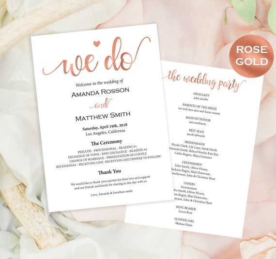 Rose Gold Wedding programs printable