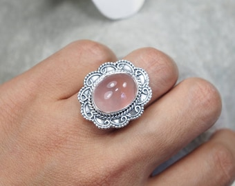 Natural Rose Quartz Handmade Indian 925 Sterling Silver, Genuine Ring, Birthday and holiday Gift, US Size 6 ,J520