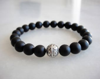Mens silver bracelet with matt black onyx beads - mens gift