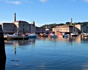 Canvas print of view towards Royal William Yard in early morning sun