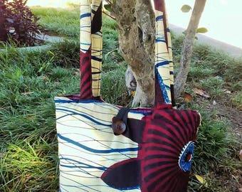 Shoulder bag, handmade bag, vintage bag, fabric bag, african fabric bag, boho chic bag