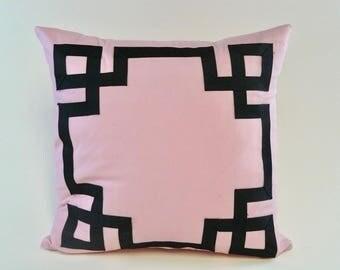 Greek Key Ribbon Applique Pillow Cover Pink with Black Grosgrain Ribbon Detail