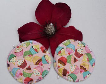 Reusable Cute Cup Cake Print Breast Pads. Breathable, Light, Non-slip, Heavy Absorbency Nursing Pads. *Ship Worldwide*.