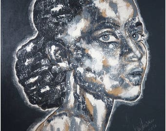 """Special Price Portrait XXL  49"""" x 43"""" inch black & white big size  art painting canvas acrylics exclusive Gallery"""