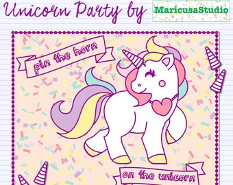 Unicorn pin the horn game, Printable, Unicorn party decor, Unicorn party theme, Unicorn diy party, Unicorn decorations, Birthday party