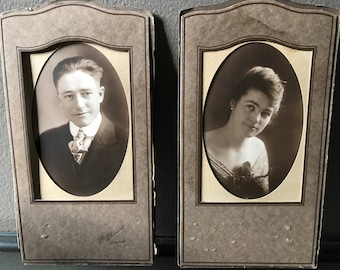 Pair of Vintage Sepia Studio Portraits of Young Man & Woman, Matte Framed Antique Portraits Young Husband and Wife Prop, Ephemera Vernacular