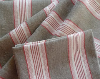RESERVED SOLD RESERVED Antique French ticking fabric/red and olive  stripe ticking/original antique french linen ticking / French textile/