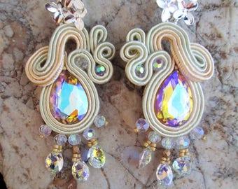 soutache earrings multicolor yellow