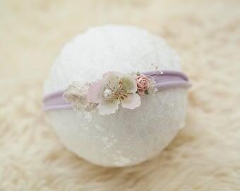 Lilac newborn headband tieback Baby headband tieback Newborn photography tieback prop lilac Photo prop Flower photo prop