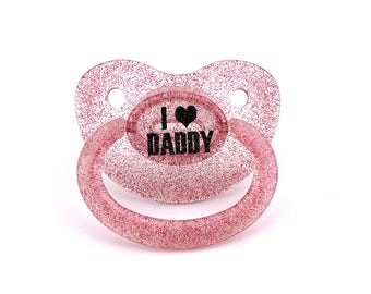 I <3 Daddy custom adult pacifier in pink glitter - nuk 6 equivalent. Ddlg dummy