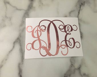 Rose Gold Monogram Decal, Rose Gold Vinyl Monogram Decal, Rose Gold Decal, Car Decal, Laptop Decal, Tablet Decal, Vine Monogram