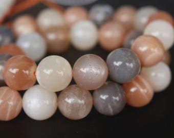 6mm 8mm 10mm 12mm Mixcolour Moonstone Beads-Natural Smooth and Round Beads-15 Inches Strand