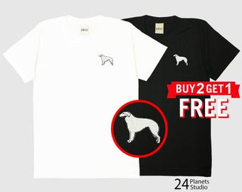 Borzoi Dog Embroidered T-Shirt by 24PlanetsStudio