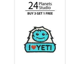 Mini I Love YETI Iron on Patch by 24PlanetsStudio