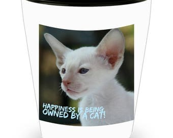 Happiness Is Being Owned By A Cat! Stunning and Unusual White Cat Photograph Adorns Cool Ceramic Shot Glass Makes a Perfect Gift!
