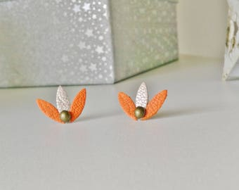 Shuttles Pumpkin orange and shiny gold leather petals post earrings