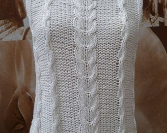 sleeveless white knitted handmade sweater