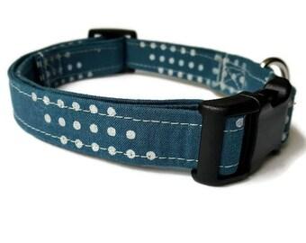 Blue Dog Collar, Boy Dog Collar, Wedding Dog Collar, Puppy Collar, Modern Collar, Fabric Dog Collar,  Male dog collar.  Metal Buckle,