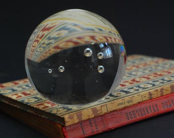 Paperweight Glass Ball, Paper Weight glass, Clear Glass Papper weight, Retro Vintage Design