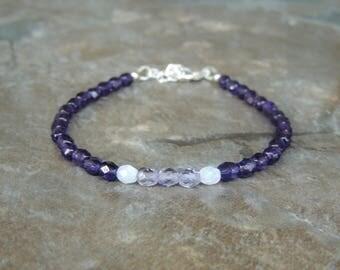 Simple Purple Bracelet for Women, Dainty Bracelet for Her, Dainty Delicate Bracelet, Dark Purple Minimalist Bracelet, Everyday Bracelet