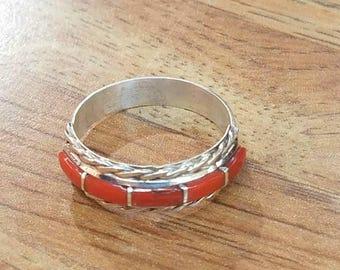 Zuni handmade Mediterranean coral Sterling Silver ring