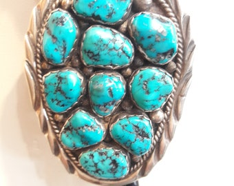 Authentic Native American Navajo Handmade Sterling Silver kingman Turquoise Bolo Tie