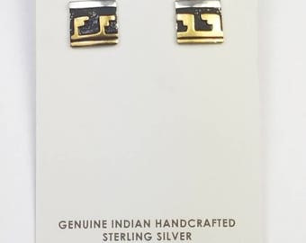Native American Navajo handmade Sterling Silver 12K Gold overlay post earrings by Tommy Singer