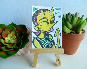 Original Cute Yellow Demon Girl Artist Trading Card (ATC)