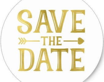 """24 PCS """"Save The Date"""" Gold Sticker, Seals, Scrapbook Supplies, Stationary, Paper, Paper Stickers, Stickers, Paper Supplies, Party Supply"""