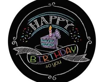 "8Ct 7"" Chalkboard Happy Birthday Paper Plates, Paper Plates, Birthday Party, Rustic, Party Supplies, Party Decoration, Party, Birthday Decor"