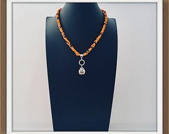 Halloween necklace,Halloween Pumkin Ncklace, orange & black beaded Halloween pumkin necklace pendant, beaded silver Pumkin pendant  necklace