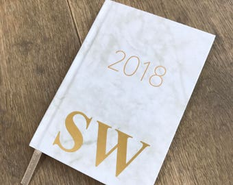 Personalised week to view white marble 2018 diary