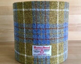 Blue and Mustard Check Harris Tweed Lampshade - Handmade Lamp Shade - Harris Tweed - Wool Lampshade - Scottish - Tartan Lampshade