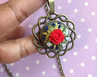 Handmade embroidered necklace, Floral necklace, Embroidered necklace, Red flower embroidered necklace