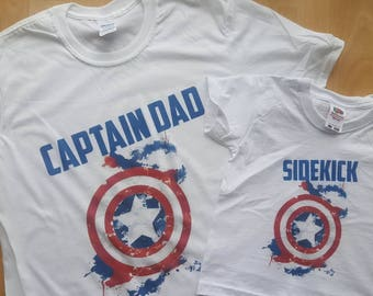 Matching Captain America Inspired Father and Son Set - Captain Dad, Sidekick