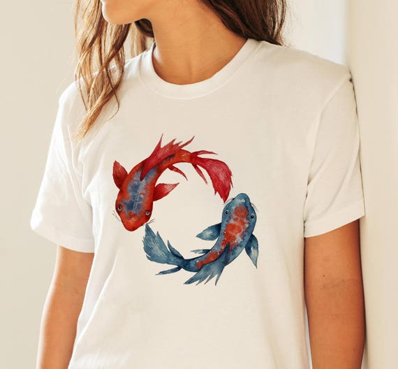 Yin Yang Koi Fish  | Unisex T-shirt | Apparel | Women / Men Clothing | Personalized T-shirt | Graphic Tee | Meditation & Yoga | ZuskaArt