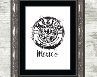 Mexico Print, travel stamp, Mexico, travel, stamp