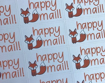 Happy Mail Stickers | Fox Stickers | Package Stickers | Shipping Stickers | Maker Stickers | Small Business Stickers